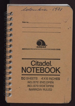 Cover of Cleofe Calderon's field book, Colombia 1981