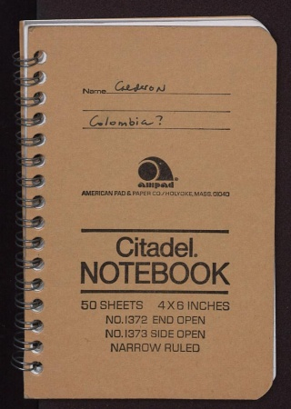 Cover of Cleofe Calderon's field book, Colombia?