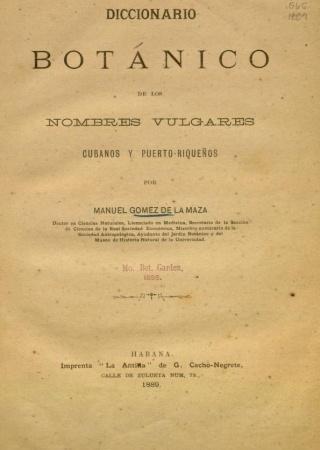 """Title page from """"Diccionario botánico de los nombres vulgares cubanos y puerto-riqueños."""""""