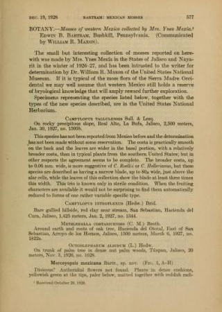 """Mosses of Western Mexico Collected by Mrs. Ynes Mexia from """"Journal of the Washington Academy of Sciences, v. 18 no. 21."""""""