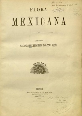 "Title page from ""Flora Mexicana."""