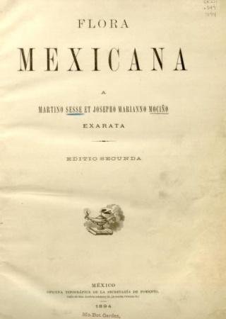 "Title page from ""Flora Mexicana, Exarata, Editio Secunda."""
