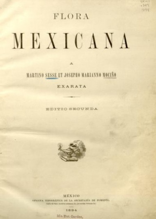 "Title page from ""Flora Mexicana, Exarata, Editio Secunda."""