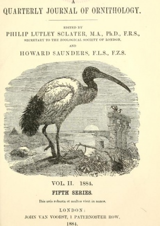 "Title page from ""The Ibis, Series 5, v. 2"""