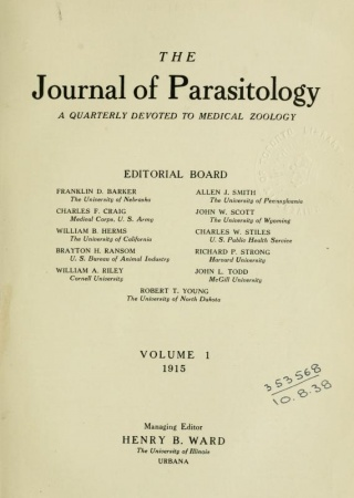 """Title page of """"The Journal of Parasitology, v. 1"""""""