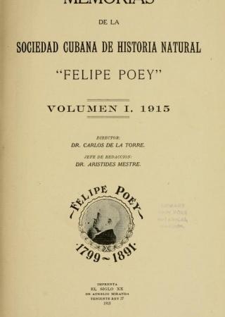 """Title page of """"Memorias de la Sociedad Cubana de Historia Natural 'Felipe Poey'"""", v.1"""