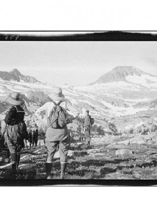 Hikers looking at Mt. Lyell, Yosemite National Park circa 1919-1930