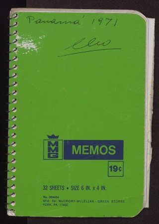 Cover of Cleofe Calderon's field book, Panama 1971
