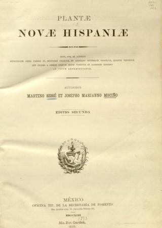 """Latin title page from """"Plantae Novae Hispaniae, Editio Secunda."""""""