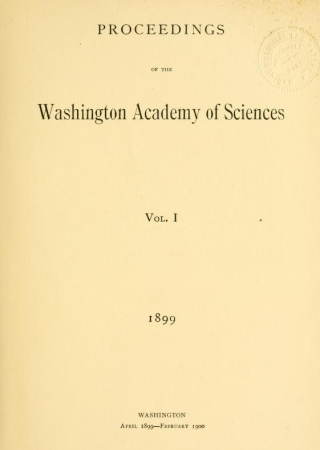 "Title page of ""Proceedings of the Washington Academy of Sciences, v.1"""