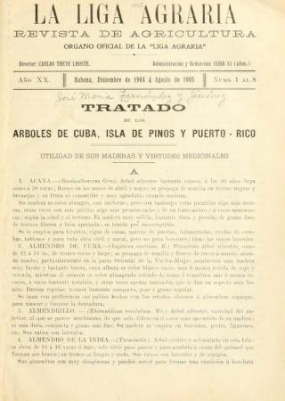 """Title page from """"Tratado de los árboles de Cuba, Isla de Pinos y Puerto-Rico : utilidád de sus maderas y virtudes medicinales."""""""