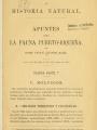"""Title page of """"Apuntes para la fauna Puerto-Riqueña."""""""